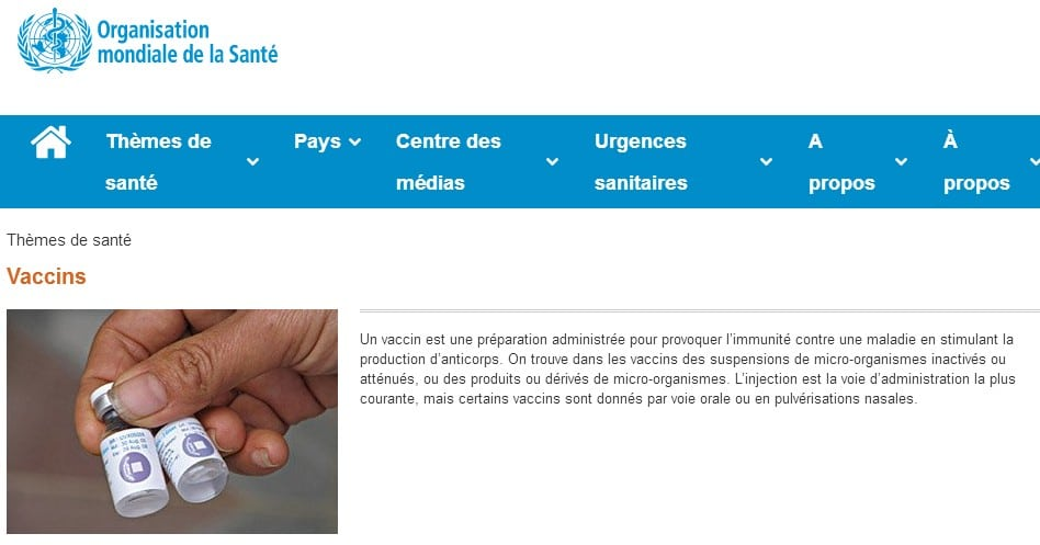 OMS définition vaccin